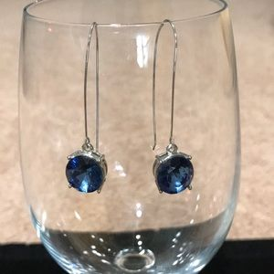 Kenneth Cole Blue Stone Silver Tone Wire Earrings